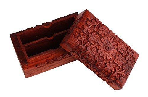 (Store Indya Exotic Hand Carved Wooden Desk Stationary Organizer Visiting Cards / Pen Pencil / Office Supplies Holder Keepsake Storage Travel Box Organizer)