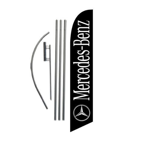 Custom Mercedes-Benz (black) 15ft Feather Banner Swooper Flag Kit - INCLUDES 15FT POLE KIT w/ GROUND SPIKE