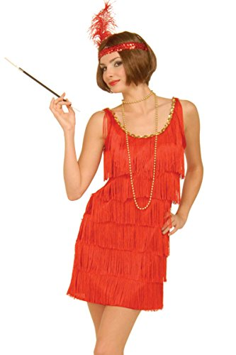 Forum Novelties Roaring 20's Flapper Dress and Headband, Red, X-Small/Small Costume -