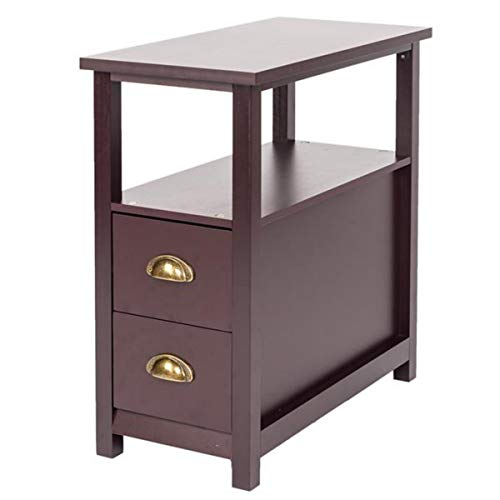 Narrow End Table with Two Drawers and Shelf,Home Furniture Living Room End Table Nightstand