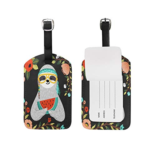 - CCshopping Luggage Tags Tribal Sloth Watermelon Flower Suitcase Labels Bag 1 Pack