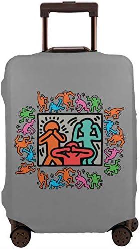 スーツケースカバー キャリーカバー キース ヘリング ラゲッジカバー トランクカバー 伸縮素材 かわいい 洗える トラベルダストカバー 荷物カバー 保護カバー 旅行 おしゃれ S M L XL 傷防止 防塵カバー 1枚