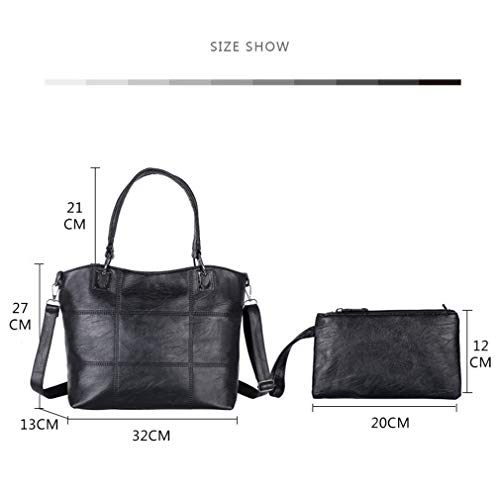 2Pcs 13cm Gray2 Shoulder 27cm 32cm Bags Women Black PU Leather vnrzpwxvq