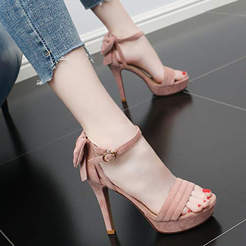Shoes Fashionable Buckles Heel 12Cm KPHY And Thin Sandals Toes Pink High Simple Bow Single Comfortable Summer q1UfWwSAxU