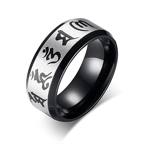 Stainless Steel Simple Buddhist Six Word Mantra Engraved Ring for Men Women,Grey and Black,Size (Buddhist Symbol Ring)
