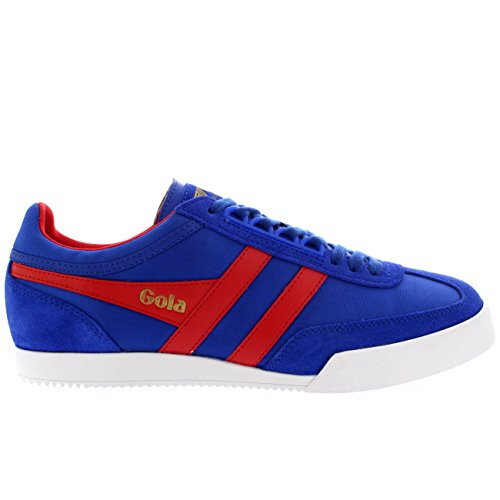 Mens Gola Harrier Super Lace Up Suede Retro Low Top Sport Casual Sneaker - Reflex Blue/Red - 9