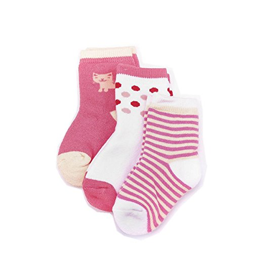 PinkBTFY 3 Pair/Lot Kids BASIC Socks Cartoon Animal Monkey Baby Boys Girls Socks For 0-3 Years Cat 1 to 3 year by PinkBTFY