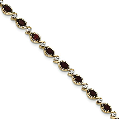 Or 14carats Grenat Diamant Bracelet