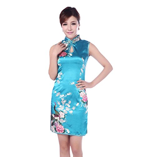 JTC(TM) Cheongsam Chinese Dress Han Costume Sleeveless Qipao Skirt 4colors (4, Blue) by Jtc