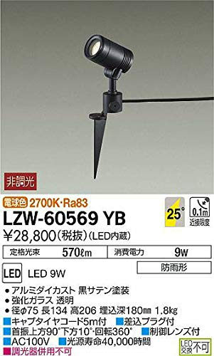 DAIKO LEDアウトドアスポットライト (LED内蔵) 電球色 2700K LZW60569YB   B07K2T64YC
