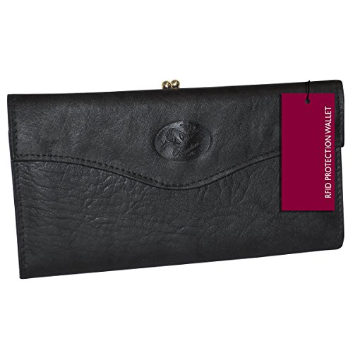 Buxton Heiress Organizer Clutch (Black-RFID Protected)