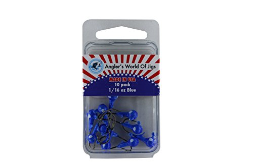 Angler's World of Jigs Jig Head Fishing Hooks - Fishing Lures Bait for Worms Shrimp in Freshwater - Glow in Dark and Available in Different Bright Colors (1/16 oz Blue- Bronze Hook, 10 Pack)