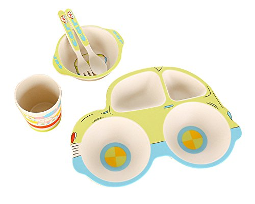 LLZJ Babies Tableware Dishes Sets Bowls Cup Bamboo Fiber Tray Fork Spoon Tip Children's Cutlery Separate Toddler Feeding Training Self-Feeding,Green by LLZJ