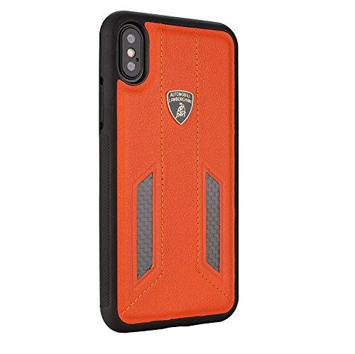 Automobili Lamborghini Huracan D6 Premium Leather Case for iPhone X (Orange)