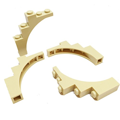 lego-parts-brick-arch-1-x-5-x-4-irregular-bow-reinforced-underside-service-pack-of-4-tan