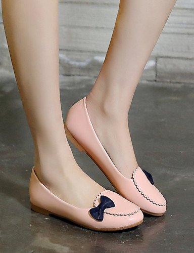 PDX/ Damenschuhe-Ballerinas-Lässig / Kleid-Kunstleder-Flacher Absatz-Rundeschuh-Blau / Rosa / Weiß , white-us5.5 / eu36 / uk3.5 / cn35 , white-us5.5 / eu36 / uk3.5 / cn35