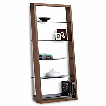 Eileen 75u0026quot; Leaning Shelf Bookcase Finish: Walnut