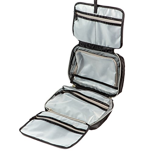 Jagurds Hanging Travel Toiletry Bag, 11 x 7.5 x 3-Inch, Black