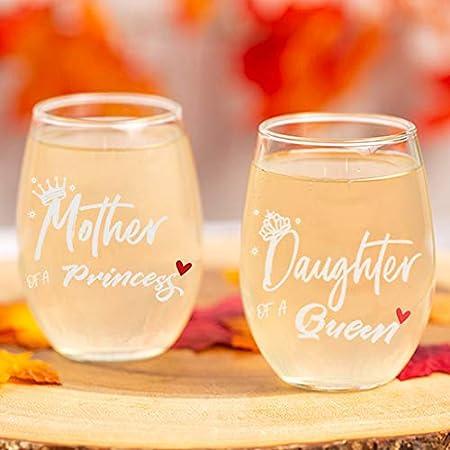 Par de copas de vino Mother Princess and Daughter Queen Juego de copas de vino sin tallo regalos de mamá de hijas regalos para mamá abuela Día de la Madre Cumpleaños Navidad regalo hija de mamá