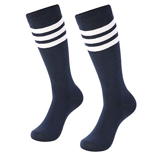 Soccer Tube Socks, SUTTOS Unisex Student Sport Athletic Soccer Socks Over Knee Triple Striped Socks for Running Workout 2 Pairs-Navy+White ()