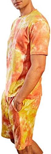 Men 's Tie Dye Tracksuit Short Sleeve T Shirt top Shorts Pajamas Set Sleepwear Nightwear Home Outfit Clo