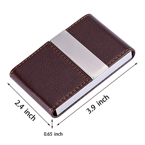 1ad2d1de13ca MaxGear PU Leather Business Card Holder Name Card Case Credit Card Holder  Magnetic Shut Double Side