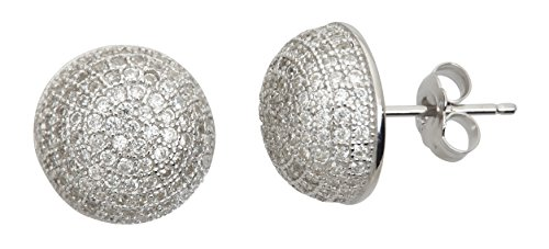 - Sterling Silver mm Round Micropave Dome Stud Earrings
