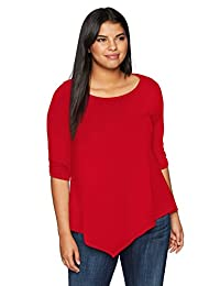 db6bfa5571c Star Vixen Womens Plus-Size Plus-Size Elbow-Cinch Sleeve Hanky Hem Top