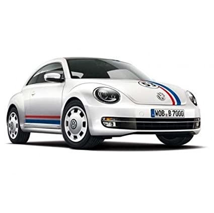 Vw new beetle racing stripe decal set side bonnet 53 herbie edition red ð white