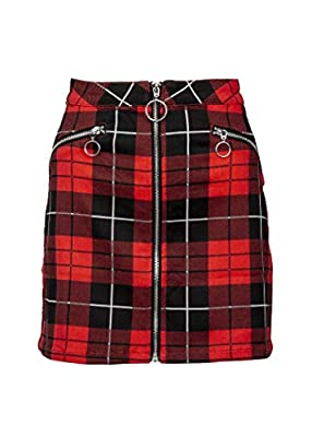 Womens Red and Black Plaid Tartan Punk Rock Mini Skirt