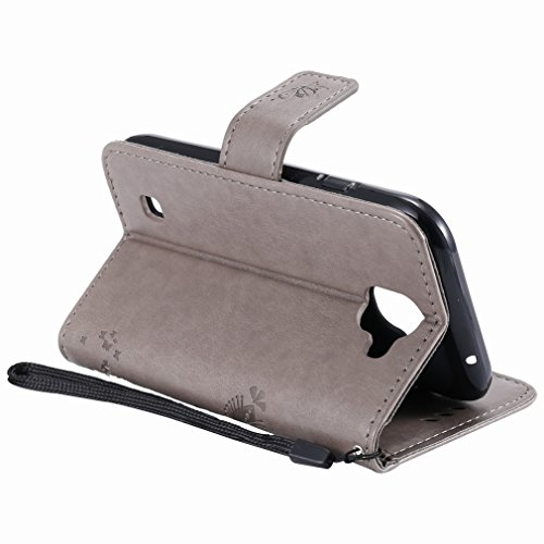 Yiizy LG K3 (2017) Custodia Cover, Alberi Disegno Design Premium PU Leather Slim Flip Wallet Cover Bumper Protective Shell Pouch with Media Kickstand Card Slots (Grigio)