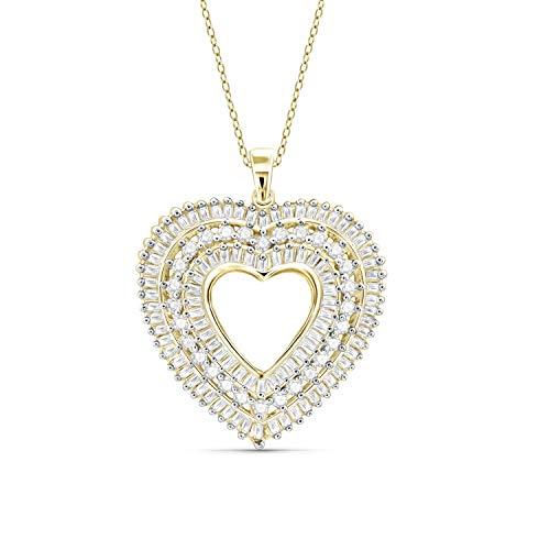 (JewelExcess 1 Carat T.W. White Diamond Gold over Silver Heart Pendant)