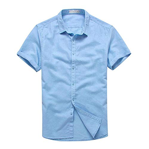 Short-Sleeved Shirt Leisure Short-Sleeved Shirt Young Man Lapel Cotton and Hemp, Sky Blue, US-XS