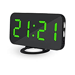 Ultra Thin Modern Snooze and Time Setting LED Digital Decorate Alarm Clock With Phone Charger For Home Decor (GREEN)