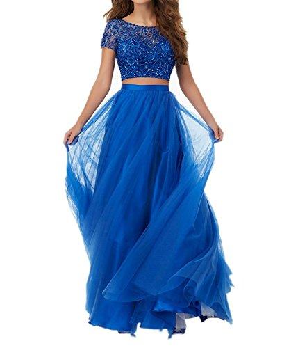 Abendkleider Blau Marie Brautmutterkleider mit Royal Blau Kurzarm Steine Braut Festlichkleider La Lang Royal Damen fqOfw0