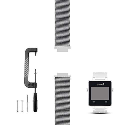 C2D JOY Only Compatible with Garmin vivoactive (1st Gen) Replacement Band with Pins and Custom Pin Removal Tool, Metal Weave Strap for Daily Wear Soft, Breathable Watchband - 1600, M/6.1-8.1 in.