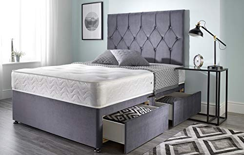 Bed Centre Ziggy Grey Plush Memory Foam Divan Bed Set With Mattress, 2 Drawers (Same Side) and Headboard (Super King (180cm X 200cm))
