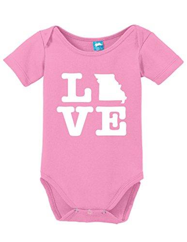 Missouri Love Printed Infant Bodysuit Baby Romper Pink 3-6 - Mo Kids Branson For