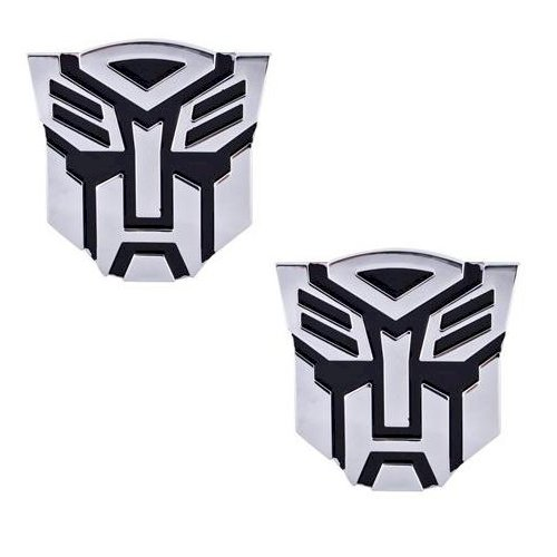 (Transformer Autobot Pair Chrome Finish PVC Auto Emblems - 1