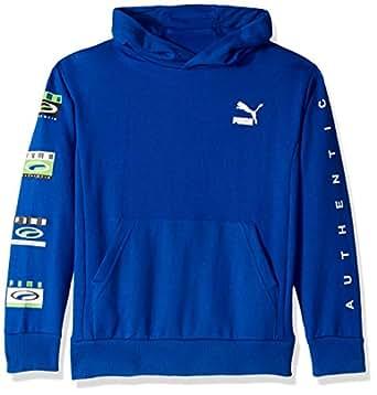 PUMA Boys 91192332FME-P448 Boys' Pullover Hoodie Hooded Sweatshirt - Blue - Medium (10/12)