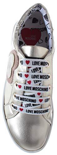 Love Platino Moschino Nuove 35 Donna Sneakers Laminato Scarpe Cassetta Nappa BwSadrnBq