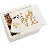 White Wash 16GB USB Flash Drive - Inlaid Heart Veneer - Inserted into a Matching White Maple Box with Raffia grass inside. Laser Etched LOVE Design