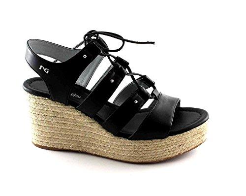 NEGRO JARDINES 17680 negro de cuero de zapatos de las sandalias de cuña con cordones cuerda Nero
