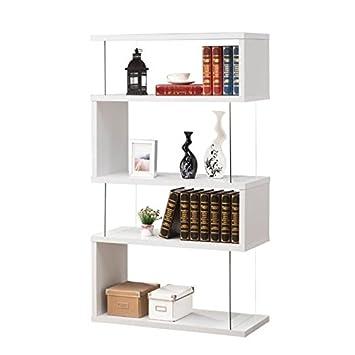 Bowery Hill Asymmetrical Snaking Bookshelf in White
