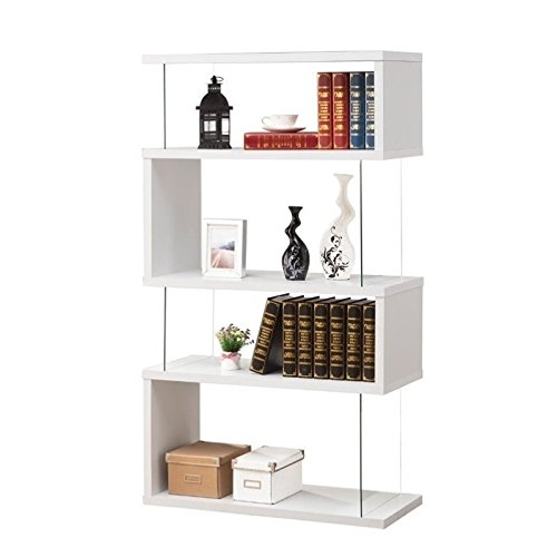 Cheap Bowery Hill Asymmetrical Snaking Bookshelf in White