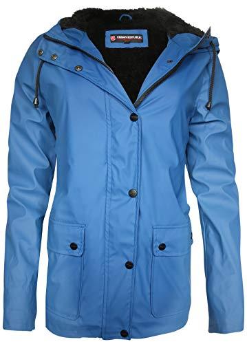 Urban Republic Ladies Hooded Vinyl Rain Jacket with Fur Lining, Navy, Large'