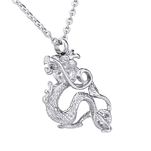 China Dragon Urn Necklace for Ashes Memorial Pendant Keepsake with Funnel Cremation Jewelry