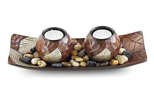 Dekoschale mit zwei Kerzenhalter a. Holz
