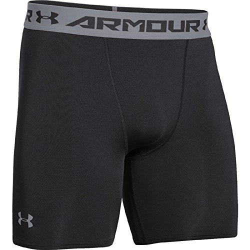 Under Armour Men's UA HeatGear Armour Compression Shorts - Mid, Black/Steel, 2XLarge