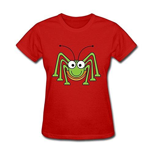 CYShirt Women's Cartoon Green Grasshopper Short Sleeve T-Shirt Large Red